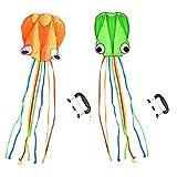 XIBEI Amplia Kite de Pulpo, una Sola línea Truco Octopus Potencia Deporte Volando Kite niños Actividad al Aire Libre, Kites de Playa Buenos Juguetes para niños y Adultos (Color : Orange+Green)