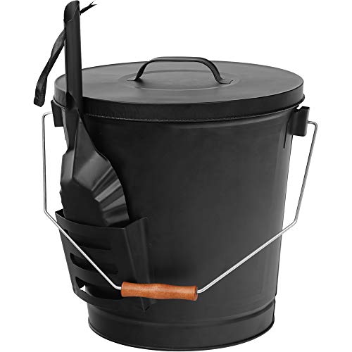 F2C Ash Bucket with Lid and Shovel 5.15 Gallon Large Galvanized Metal Coal and Hot Ash Pail for Fireplace, Fire Pits, Wood Burning Stoves, Grill, Outdoor, Black