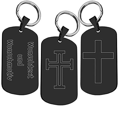 Kreuz Schlüsselanhänger aus Edelstahl   Schwarz Silber Gold   Religion Jesus Christus Kirche   Schlüssel Anhänger Schlüsselring Ring   Beidseitige Wunschgravur Personalisiert Schwarz
