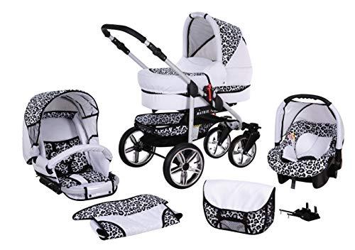 Cochecito de bebe 3 en 1 2 en 1 Trio Isofix silla de paseo X-Car by SaintBaby blanco & leopardo 2in1 sin Silla de coche