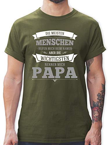 Vatertagsgeschenk - Die Wichtigsten nennen Mich Papa grau - L - Army Grün - t-Shirts sprüche Herren - L190 - Tshirt Herren und Männer T-Shirts
