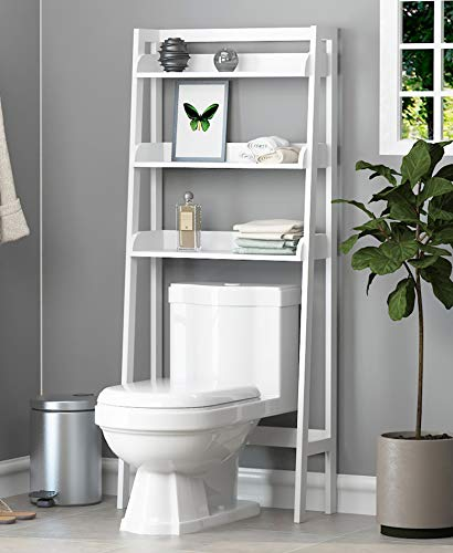 UTEX 3-Shelf Bathroom Organizer Over The Toilet, Bathroom Spacesaver (White)