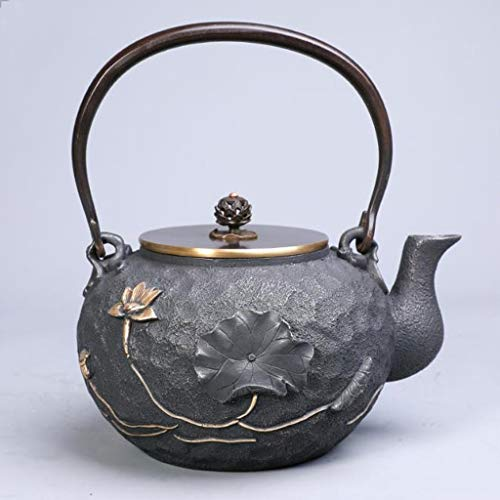 Tea Pot, Retro Japanese Tea Kettle for Loose Leaf Tea, Cast Iron Handmade 1.2 Litre Small Tea Maker for Living Room Office Tea House
