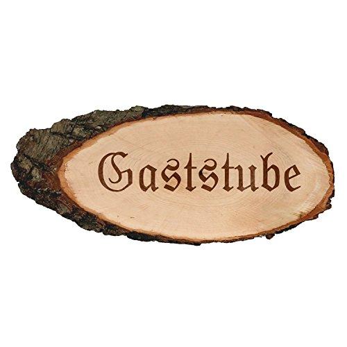 Gravierte ovale Rindenbretter Holzbrett Baumscheibe Türschild, Brettgröße:ca. 40 cm lang, Motiv:Gaststube