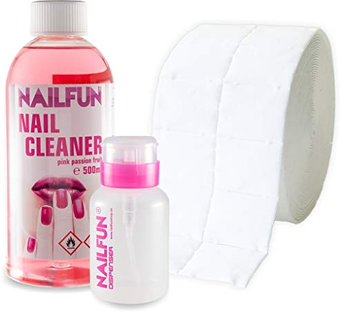SET Nail Cleaner 500ml Pink Passion Fruit + 500 Zelletten (1 Rolle) + 1 Pumpflasche 200ml