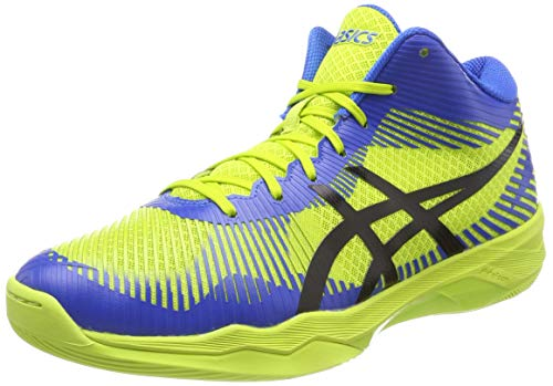 Asics Volley Elite FF MT, Zapatos de Voleibol Hombre, Multicolor (Energy Green/Directoire Blue/Black 7743), 44.5 EU