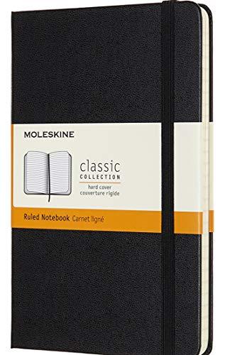 Moleskine - Klassisches Liniertes Notizbuch - Hardcover mit Elastischem Verschlussband - Farbe Schwarz - Größe Medium 11,5 x 18 - 208 Seiten