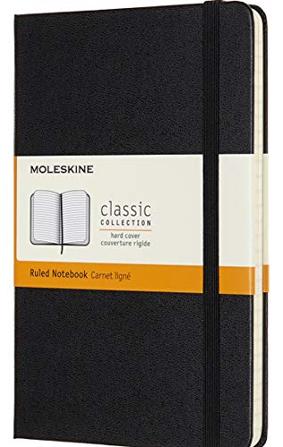 "Moleskine Classic Notebook, Hard Cover, Medium (4.5"" x 7"") Ruled/Lined, Black, 208 Pages New Hampshire"