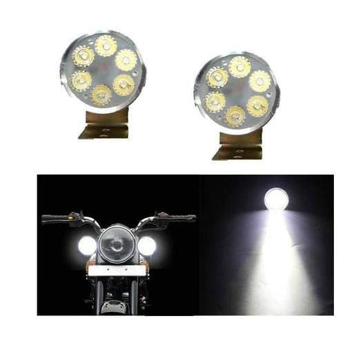 Ambrotos 6-LED Round Spot Beam LED Bike Aux Lights White Set Of 2-Hero Super Splendor