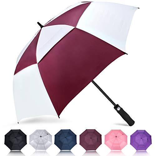 ZOMAKE Automatisches Öffnen Golf Regenschirm 172,7 cm Oversize Extra Groß Double Canopy belüftet Winddicht wasserdicht Stick Schirme (Rot/Weiß)