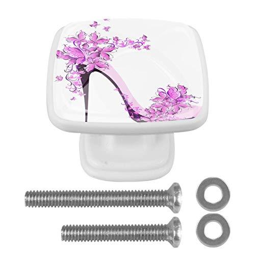Perilla floral del cajón de los tacones altos de la mariposa para la estantería del aparador del gabinete del hogar 4PCS con los tornillos