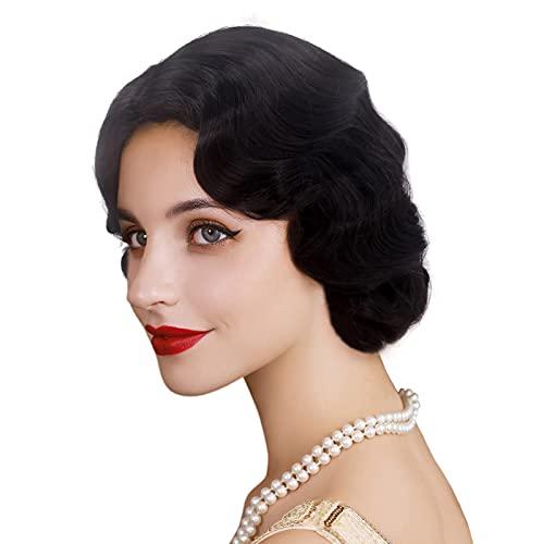 REEWES Long 1920s Wig Finger Wave Wig Curly Short...