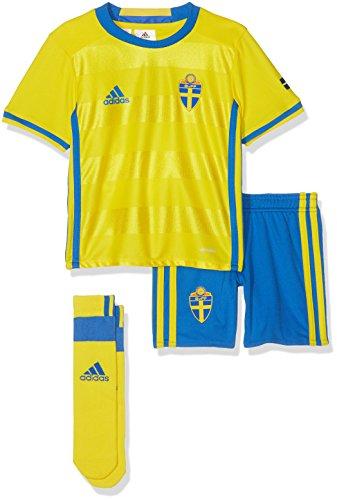 adidas–Balón de fútbol Infantil hogar/de Equipo Suecia Mini, Primavera/Verano, Infantil, Color Yellow/Broyal, tamaño 2 años (92 cm)