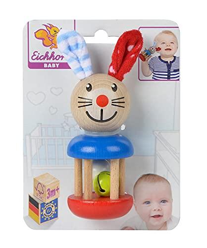 Eichhorn 100017013 - Baby Rassel mit Hasenmotiv,...