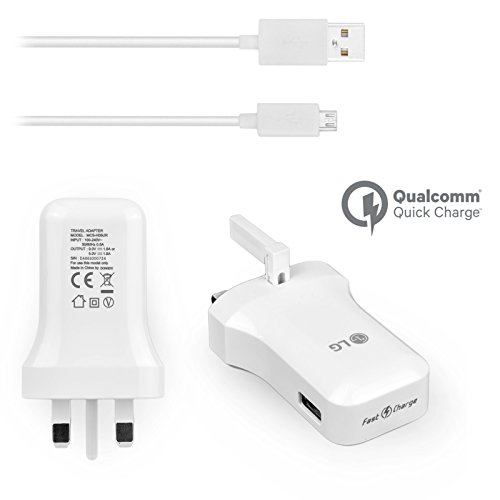 Genuine LG Mains Wall Charger Qualcomm Fast Charge 9.0/5.0V High Power 1.8A for LG V10 LG G4 G3 G2 LG Flex 2 Nexus 5 Leon 4G with Generic USB Data Cable Sync/Charge Lead