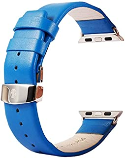 Wang for Apple Watch 38mm Subtle Texture Double Buckle Genuine Leather Watchband with Connector(Black) (Color : Blue)