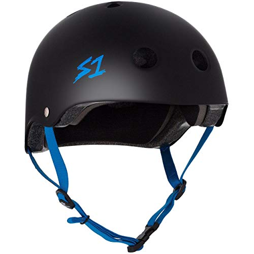 S1 Lifer Multi Impact Helm - Mat Zwart/Cyaan Band