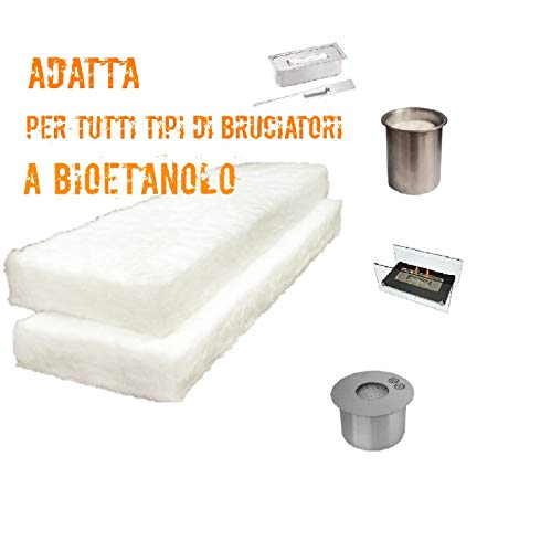 Spugna Camino Biocamino Bioetanolo|Accessori Caminetti | 2 Pezzi | 30X10X1,3 cm |Spugna Ceramica Caminetto | Adatta a Tutti Bruciatori Per Bioetanolo