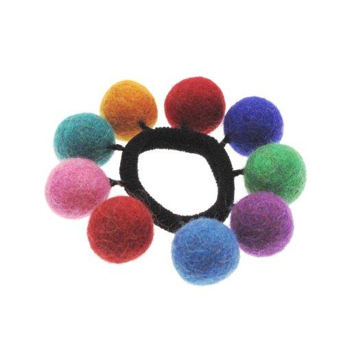 Six bandes de cheveux en feutre avec 9 petites balles