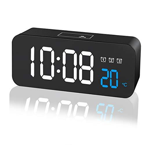 ZKIAH Wecker Digitaler LED, Großer digitaler Wecker Mit Temperature Snooze, 3 Alarm, Datum, Helligkeit und Lautstärke Einstellbarer batteriebetriebener Reisewecker Wecker