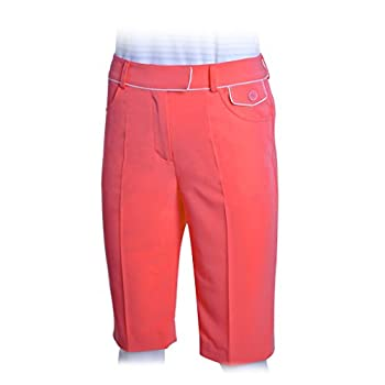 Monterey Club Women s Club Bermuda Golf Shorts #2870  Salmon Pink/White Size 12
