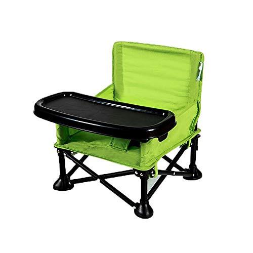 ZXYWW Kinder Klappstühle, Baby Esstisch und Stühle mit Safe Tray Portable Outdoor Klappstuhl Multifunktions Baby Esszimmerstuhl für Camping,Green