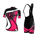 FDX - Maglia da ciclismo da donna a mezze maniche e salopette con pantaloncini
