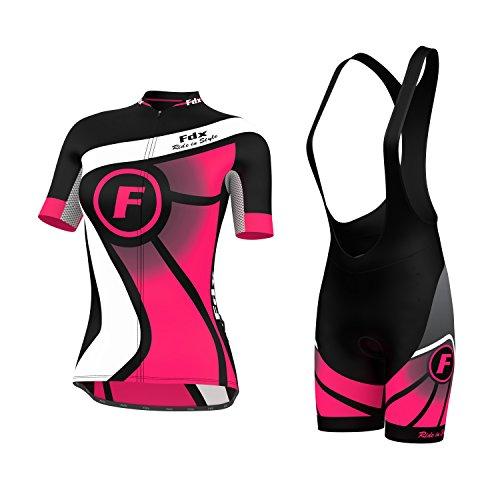 FDX Damen Fahrradtrikot, Halblange Ärmel, Trikot + Trägerhose im Set, rose, M