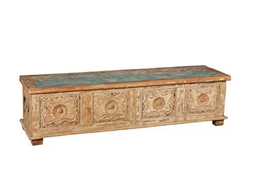Kekstruhe antik, Original, aus Teakholz, geschnitzt mit Decapate-Finish, L 181 x PR47 x H 48 cm