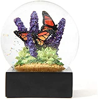 ZAMTAC Souvenirs Monarch Crystal Ball Water Snow Globe Butterfly Purple Flower Golden Snowflake Home Office Decor Birthday Woman Gift - (Color: Light Green)