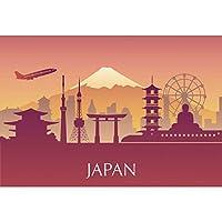 Qinunipoto 背景布 写真撮影用 和風 背景 和風背景 撮影 写真の背景 ポリエステル 洗濯可 シルエットイラスト 東京都 日本のランドマーク 日本旅行の背景 写真背景 子供用 写真館 商品撮影 誕生日 2.5x1.5m