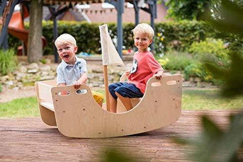 Outdoor-Garten-Sitzgarnitur | Kinder-Schiffschaukel | Holz-Wippe 8077 Model Mit Segelmast & Segel