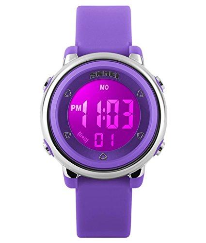 SKMEI Reloj púrpura de Digitaces de la prenda impermeable de Digitaces de la pantalla LED de la banda del silicón de la pantalla