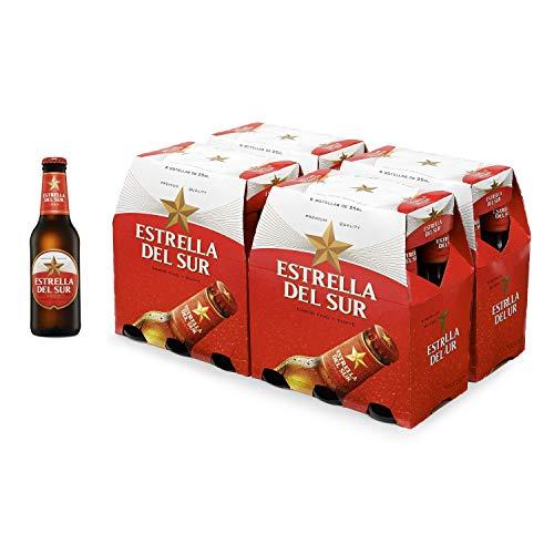 Estrella Del Sur Cerveza, Caja de 24 Botellas 25cl, Cerveza Lager, Bebida Sevillana, Botellín, Original, Alta Calidad