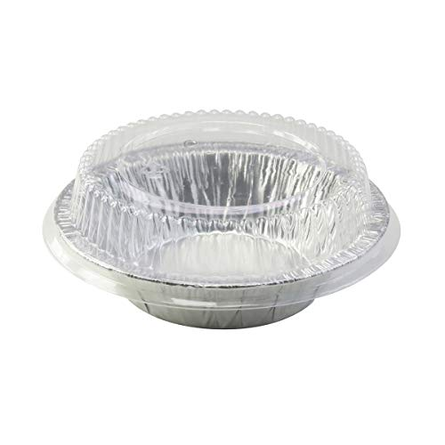 "New Disposable Aluminum 5"" Tart Pan/individual Pot Pie Pan w/ Clear Dome Lid -501P (50)"