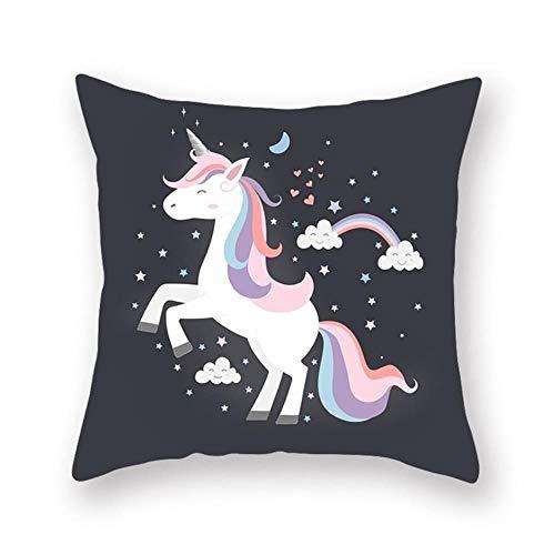 ISAAC ENGLAND Funda de cojín para sofá de Unicornio púrpura de 1 Pieza para Silla de Cama de Oficina para Coche Funda de Almohada Decorativa Protector de Muebles 45 * 45 cm, Modelo 4