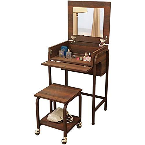 DJDLLZY Vanities & Vanity Bancos de maquillaje personal de maquillaje personal con espejo de flip tocador de goma sólido Mesa de tocador de madera, organizadores Accesorios de maquillaje Bancos de van