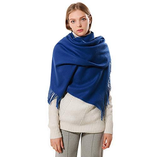 Eagool Sciarpa in cashmere spessa per donna Idea regalo da donna Scialle avvolgente in lana super morbida estremamente calda per inverno, autunno e primavera (blu scuro)