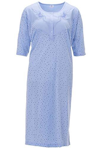 Lucky Chemise de Nuit Dames Manches Courtes Vêtement de Nuit Grandes Tailles, Farbe:Blau, Größe-Damen:5XL