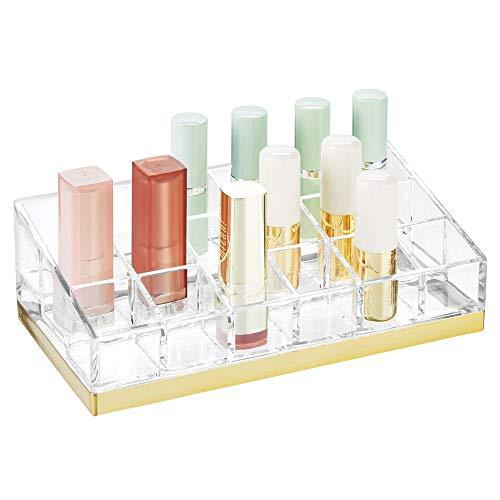 mDesign praktischer Kosmetik Organizer – dekorative Kosmetik Aufbewahrungsbox für Nagellack und Lippenstift – Ablage mit 18 Fächern zur Schminkaufbewahrung – durchsichtig und messingfarben