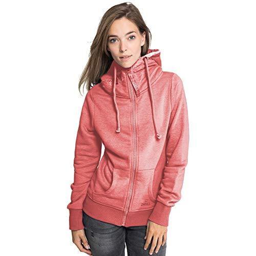 Zhrill Damen Zip Hoodie Kapupzenjacke Sweatjacke Slim Fit Sportlich Lässig Nora, Größe:S, Farbe:T6054 - Red