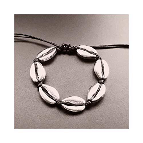 Awertaweyt Armband aus Glasperlen, Handmade Natural Seashell Hand Knit Bracelet Shells Bracelets Women Accessories Beaded Strand Bracelet Black Silver S905-2b