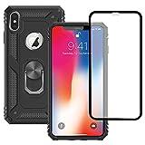 Yiakeng Funda Apple iPhone X/XS New Edition Carcasa con Protector Pantalla Cristal Templado, Silicona Armor Case con Kickstand para Apple iPhone X/XS-5.8' (Negro)