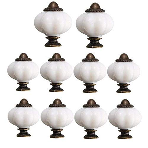 Voarge 10/Set 32 mm Pull Griff, Vintage Kürbis Pull Griff, Keramik Türknäufe für Inneneinrichtung Küche Badezimmer, Weißes Schrankknöpfe, Schubladengriffe, Möbelgriffe