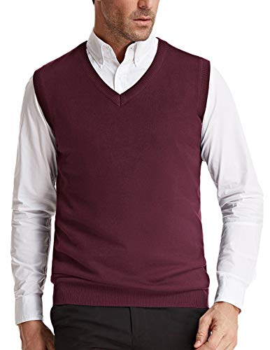 Men's V-Neck Knitting Vest Classic Slim Fit Sleeveless Pullover(Burgundy, Size XXL)