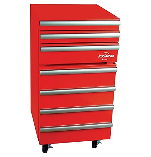 Koolatron KTCF50 Chest Compact Fridge with 1.8 Cubic Feet (50L) Capacity-Includes Easy-glide Drawers, Aluminum Handles, Built-In Tool Storage for garage or shop-Red, Standard