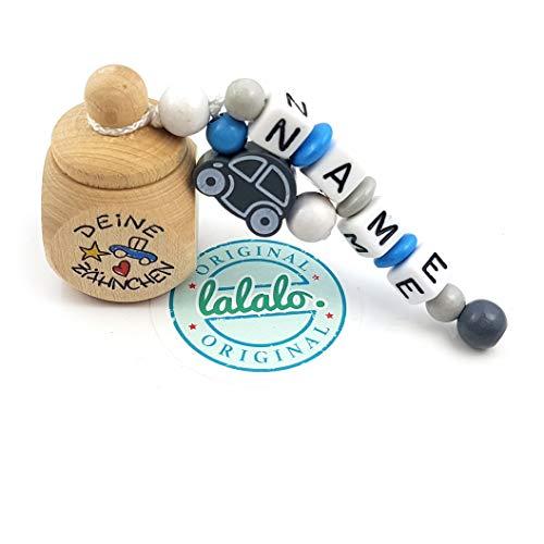 """LALALO Holz Zahndose mit Namen, Taufgeschenk, Zahnbox Milchzähne Box Gravur, Milchzahndose Zahndöschen personalisiert (Aufdruck""""Deine Zähnchen"""" + Auto, Motivperle Auto, Blau)"""