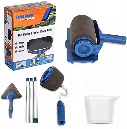Kit de pincel de rodillo de pintura, kit de pincel de impresión de pared de 9 piezas con pincel Paint Runner Pro, pincel de impresión de pared, 3 postes telescópicos, bordeador flocado con mango
