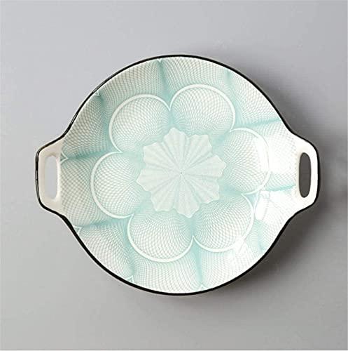 Juego de Platos, Conjuntos de cena de cerámica Conjunto de placa de cena creativa placa de doble oreja placa de cerámica de glaseado Color simple Hogar de 9 pulgadas Platos que sirven vajillas para co