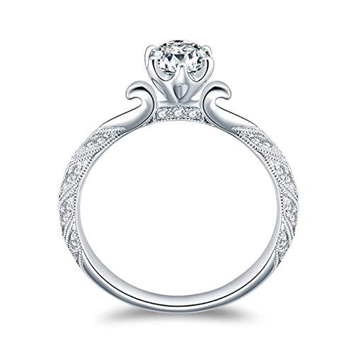 Ubestlove Hochzeit Ring Weißgold Klassischer 6 Krallenring Schmuck Damenring Love 0.4Ct Diamant Ringe Größe 57